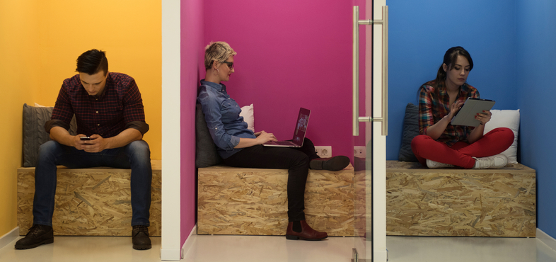 Moveable furniture and technology help support a flexible work environment.